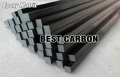 HATCHMATIC 500mm Length Pultruded Square Solid Carbon Fiber Rod,CFR rods: 4 pcs of 6mm