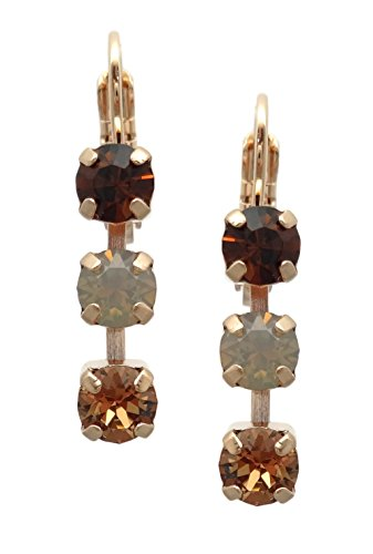 (Mariana Rose Gold Plated Swarovski Crystal Earrings Brown Mix Drop Dangle 1318 Odyssey Aphrodite)