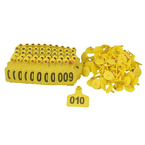 Cattle Ear Tags (BQLZR Yellow 1-100 Numbers Plastic Large Livestock Ear Tag for Cow Cattle Pack of 100)
