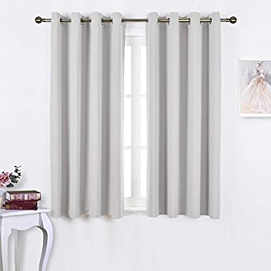 NICETOWN Window Treatment Thermal Insulated Grommet Room Darkenining Curtains / Drapes For Bedroom (2 Panels,52 by 63,Greyish White)