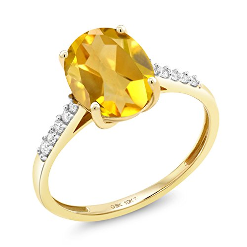 - 2.12 Ct Oval Yellow Citrine White Diamond 10K Yellow Gold Ring (Size 7)