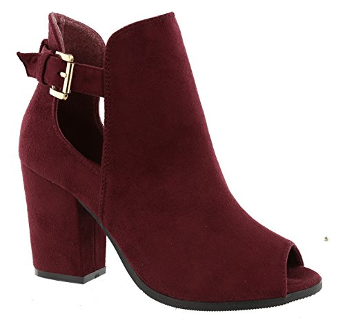 Moda Side Toe Block Ankle Top Heel Buckle Peep Bootie Women's Wine Open OWdqSd