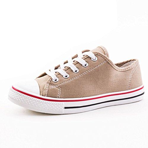 Damen Sneaker Low Top Schuhe Canvas Textil Modell 3: Khaki