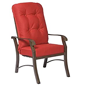 Woodard  Cortland Cushion High-Back Dining Arm Chair, Copper, Glover Cobalt