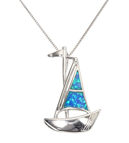 Sterling Silver Synthetic Opal Nautical Sail Boat Necklace Pendant With 18
