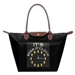 Folding Dumpling Bag Top Handle Handbag Women's Satchel Shoulder Shopping Gripesack Beer O'clock Nylon Backpack
