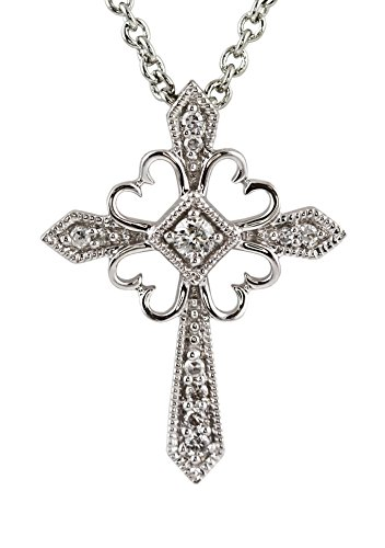 0.11ct Diamond 14K White Gold Gothic Victorian Cross Pendant Necklace 16