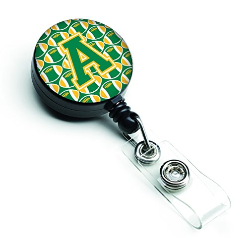 Caroline's Treasures CJ1069-ABR Letter A Football Green & Gold Retractable Badge Reel, Multicolor