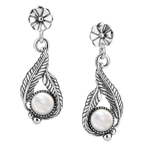 American West Sterling Silver White Mother of Pearl Flower Leaf Earrings