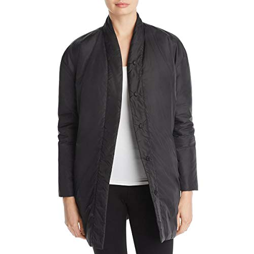 Eileen Fisher Womens Petites Kimono Winter Reversible Puffer Jacket Black PM - Eileen Fisher Long Wool Jacket
