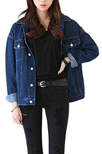 Donna Elegante Women Outerwear Giaccone Di Con Jacket Cappotto Lunga Jeans Classica Denim Button Manica Moda Fashion Blu Tasche Colore Puro Giovane Giacca Sciolto wr1wERq