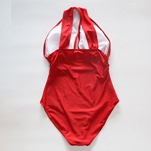 Rosso delle bagno donne rosse un nuotata da Macxy donne da spiaggia trasversale Halter di nero Costumi usura pezzo S di della bagno costume sexy costumi solido wx6Yqp4ZFY
