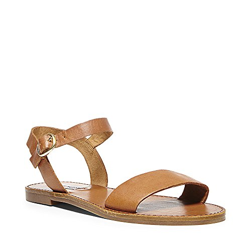 Steve Madden Women's Donddi Dress Sandal, Tan Leather, 9 M US (Leather Brown Sandals)