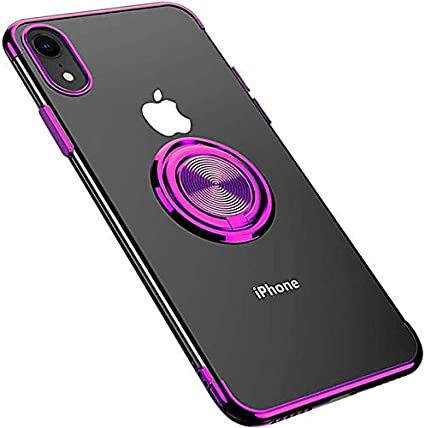 Coque iPhone XR//XS Max Fulidy Coque iPhone X Slim Fit TPU avec Support de BagueSilicone Gel Anti Mince Placage Bumper Housse 360/° Bague Support T/él/éphone Voiture Etui Bleu-1, Iphone XR