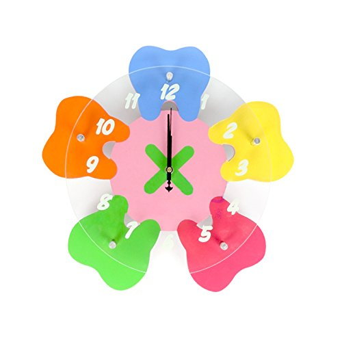 Zgood Clinic Decoration Corlorful Tooth Shape Wall Clock