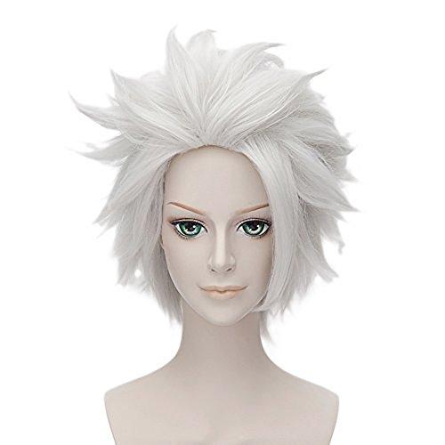 [Anogol Hair Cap+Bleach White Layered Wigs Hitsugaya Toushirou Cosplay Wig DM-459] (Hitsugaya Cosplay Costume)
