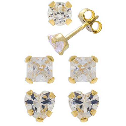 Sally Rose Girls & Kids 14k Yellow Gold Round and Princess Cut Cubic Zirconia 3 Pair Stud Earrings Set