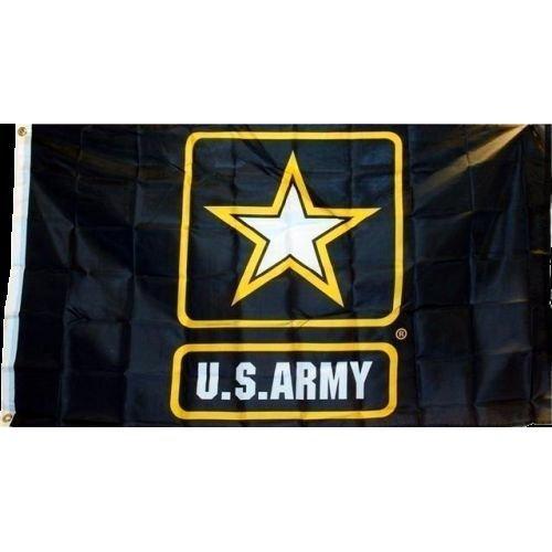2x3 Black Army Star Strong Flag 2x3 Banner Brass Grommets Pr