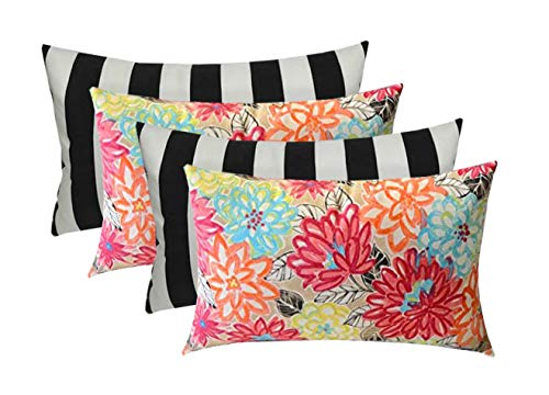 Set of 4 - Indoor/Outdoor Decorative Rectangle Lumbar Throw/Toss Pillows - Yellow, Orange, Blue, Pink Bright Artistic Floral & Black and White Stripe- Choose Size (20
