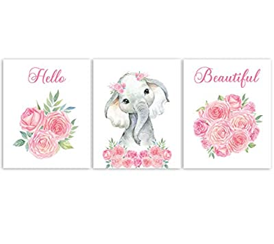 Nursery Decor - Safari Elephant Bedroom Wall Art Decor for Nursery | Decorative & Easy to Frame Printed Pictures 8x10-inch | 3 - (UNFRAMED) Prints | Sweet Elephant Baby Girl Nursery or Girl's Bedroom