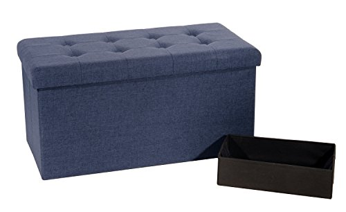 Midnight Accent Chest - Seville Classics Foldable Tufted Storage Bench Ottoman, Midnight Blue