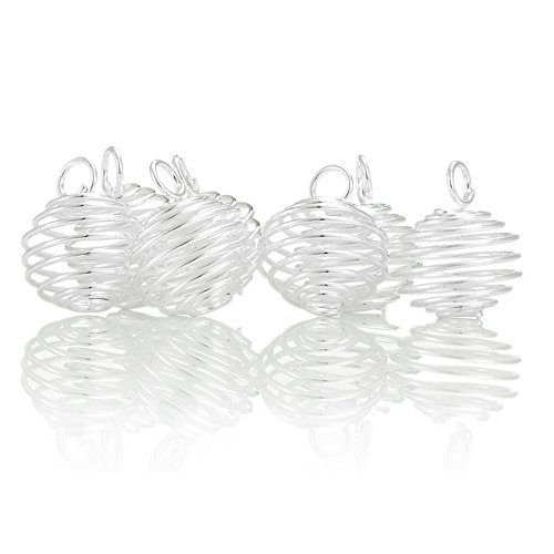 Silver Plated Resin - HOUSWEETY 50pcs Spiral Bead Cages Pendants for Jewelry Making 18x15mm (Silver Plated)