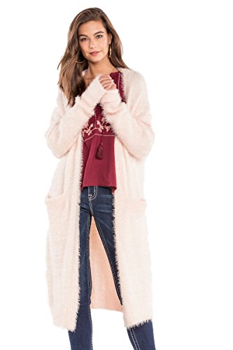 Angora Cardigan (Miss Me Keep It Cozy Fuzzy Maxi Cardigan Sweater Light Pink MDSW195L (Large))