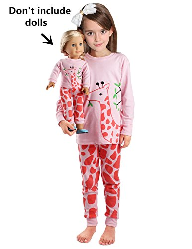 (Girls Matching Doll&toddler Giraffe 4 Piece Cotton Pajamas Kids Clothes Sleepwear size 4T)