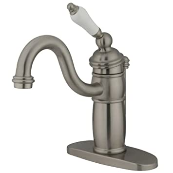 Brushed Nickel Kingston Brass KB1408PL Victorian Mono Block Lavatory Faucet
