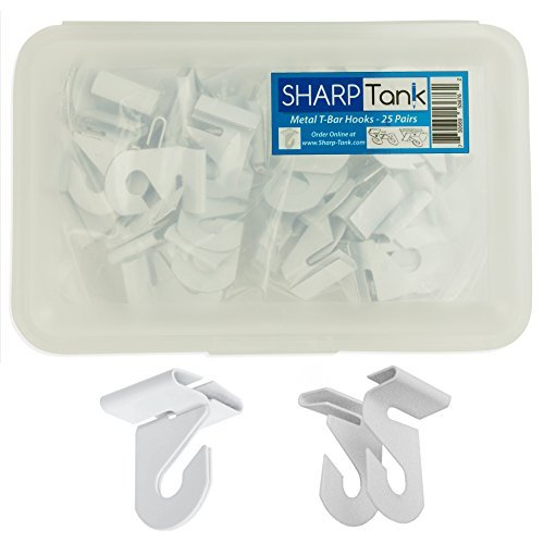 - SharpTank Classroom Ceiling Hooks (Pack of 25) - High Strength Aluminum Ceiling Track Bar-Clamp Fastener Designed for Drop-Ceiling T-Bars - Holds up to 15 lbs