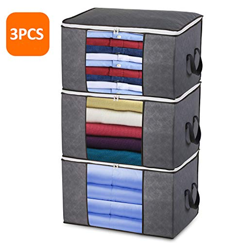 Large Clothes Storage Bags with Zips, 3 PCS Duvet Storage Bag King Size, Thick Breathable Fabric Underbed Storage Bags with Clear Windows, Clothing Storage Bags for Quilt, Bedding, Blankets