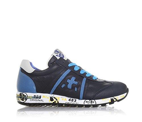PREMIATA - Blauer Schuh mit Schnürsenkeln aus Leder, hellblaue Einsätze,  auf der Zunge ein ... 5adcd33781