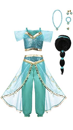 Arabian Princess Girls Costume Outfit, Wig and Jewelry Set, 6.