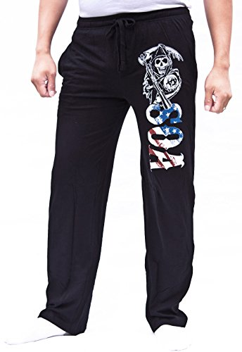 Sons Men Pants (Sons of Anarchy Men's Reaper USA Flag Pajama Pants (Medium, Black))