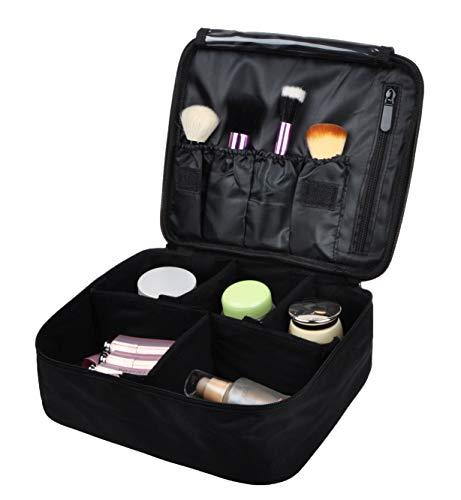 Vercord Travel Makeup Cosmetic Train Case Portable Brushes Case Toiletry Bag Travel Kit Organizer Cosmetic Bag C Black