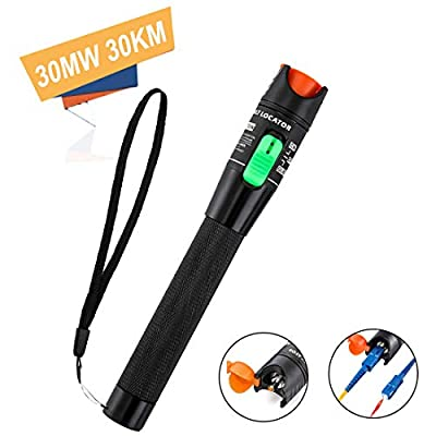 30MW 30KM Visual Fault Locator, MSDADA Red Light Fiber Optic Cable Tester Meter, Cable Test Equipment Fit for 2.5 mm Universal Connector, for CATV Telecommunications Engineering Maintenance