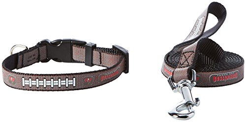 NFL Tampa Bay Buccaneers Reflective Toy Football Collar & Small Leash Gift Pack, One Size, Brown ()