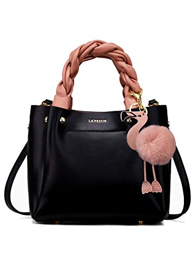 (LA'FESTIN Bucket Style Women's Leather Shoulder Handbags with Woven Top Handles Cute Flamingo Black Purse)