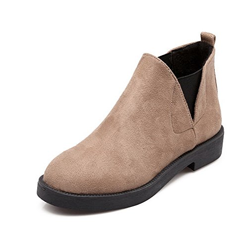 Round top Boots Closed Low Imitated Suede Women's Allhqfashion Solid Toe Heels Apricot Low BOX5wWqS