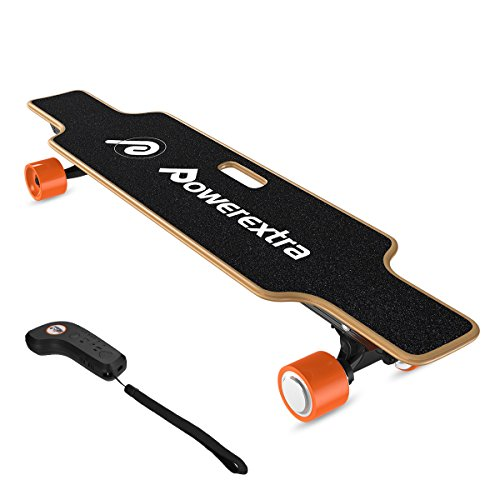Price comparison product image Powerextra Electric Skateboard Longboard 4 Wheels with Remote Control, 120W Dual Motor Electric Skateboard, 12-15KM Max Driving Mileage