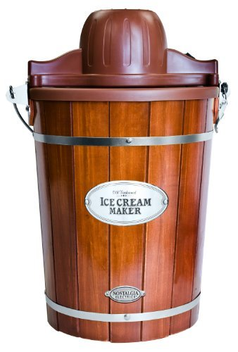 Nostalgia ICMP600WD Vintage Collection 6-Quart Wood Bucket Electric Ice Cream Maker with Easy-Clean Liner by Nostalgia (Wood Bucket Ice Cream Maker)