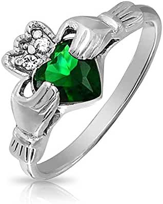 Bling Jewelry Celtic Claddagh Simulated Emerald CZ Heart Ring 925 Silver