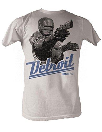 A&E Designs Robocop T-Shirt - Detroit Silver Adult White Tee Shirt, Medium