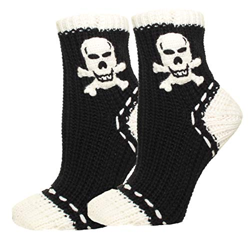 Womens Halloween Slipper Socks, Knitted Skeleton 2 Pack]()