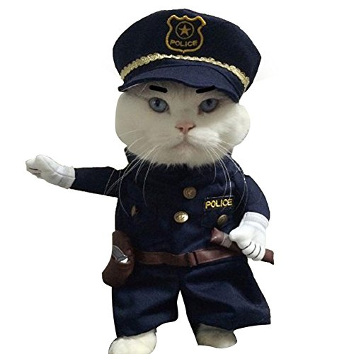 Policeman Costume Outfits with Hat Pet Dog Cat Halloween Costumes The Police for Party Christmas Special Events Costume Uniform with Hat Funny Pet -