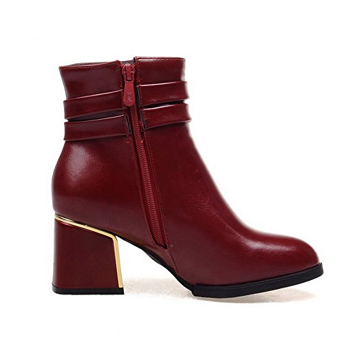 Allhqfashion Para Mujer Kitten-heels Soft Material Low-top Solid Zipper Botas Claret