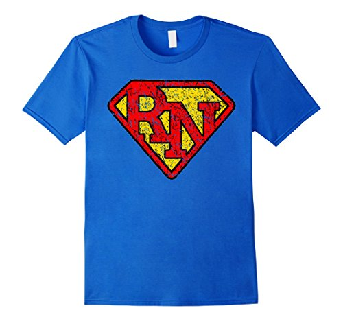 Vintage Super Nurse RN Distressed T Shirt – Male Large – Royal Blue