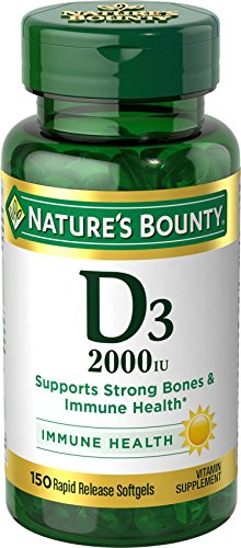 Nature's Bounty Vitamin D3 2000 IU Softgels BONUS, 150 Softgels