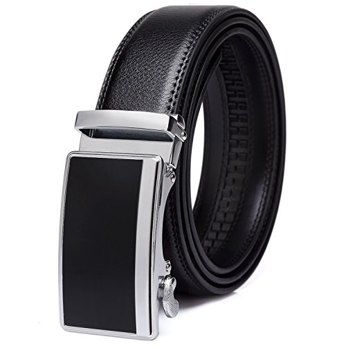 Tonly Monders Men's 35mm Dress Leather Ratchet Belt,Buckle B-nickel Plated,28