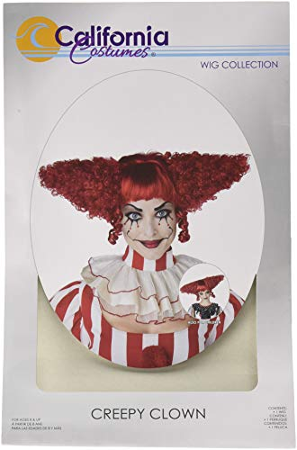 Cool Clown Costume (California Costumes Women's Creepy Clown Wig, Dark Red, One)